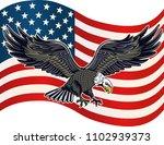Bald American Eagle And Usa Flag
