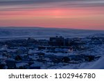 bright midnight sunset in arctic