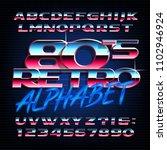 80s retro alphabet font.... | Shutterstock .eps vector #1102946924