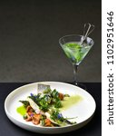 fine dining  white fish fillet...   Shutterstock . vector #1102951646