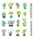 watercolor home plants. cute set | Shutterstock . vector #1102955186