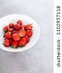 top of view fresh strawberry in ... | Shutterstock . vector #1102957118