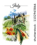 italy landscape. watercolor... | Shutterstock . vector #1102965866