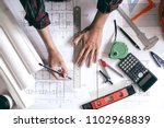architects is designing... | Shutterstock . vector #1102968839