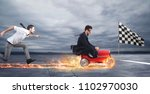 fast businessman with a car... | Shutterstock . vector #1102970030