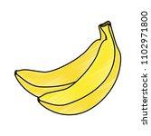 fresh bananas cluster fruit icon | Shutterstock .eps vector #1102971800