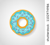 sweet donut with blue glaze... | Shutterstock .eps vector #1102974986