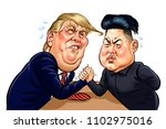 donald trump vs kim jong un... | Shutterstock .eps vector #1102975016