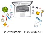 office desk workspace top view... | Shutterstock .eps vector #1102983263