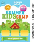 kid summer camp template ... | Shutterstock .eps vector #1102984709
