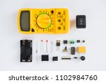 top view of multimeter and... | Shutterstock . vector #1102984760