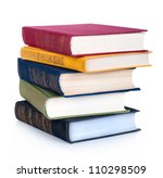 Stack Of Old Books Isolated On...