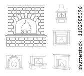 different kinds of fireplaces... | Shutterstock .eps vector #1102985396