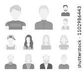 avatar and face monochrome... | Shutterstock .eps vector #1102986443