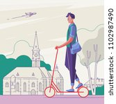 male riding a scooter in the... | Shutterstock .eps vector #1102987490