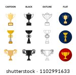 gold cup cartoon black outline... | Shutterstock .eps vector #1102991633