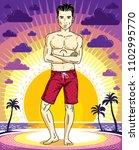 handsome brunet young man is... | Shutterstock .eps vector #1102995770