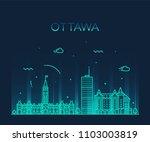 ottawa city skyline  ontario ... | Shutterstock .eps vector #1103003819