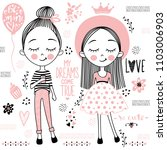 vector set with cute little... | Shutterstock .eps vector #1103006903