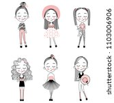 vector set with cute little... | Shutterstock .eps vector #1103006906