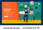 mock up design website flat... | Shutterstock .eps vector #1103021270