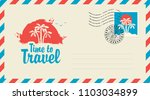 postal envelope with stamp and... | Shutterstock .eps vector #1103034899