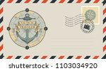 postal envelope with stamp and... | Shutterstock .eps vector #1103034920