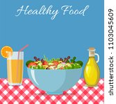 eating salads to you healthy.... | Shutterstock .eps vector #1103045609
