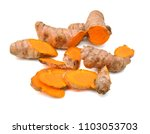 turmeric isolated on white... | Shutterstock . vector #1103053703