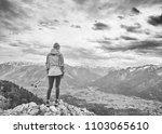 black and white portrait of... | Shutterstock . vector #1103065610