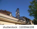 brick chimney blue sky shadows... | Shutterstock . vector #1103066108