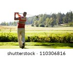 male golfer shooting a golf... | Shutterstock . vector #110306816