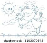 vector illustration of a girl... | Shutterstock .eps vector #1103070848