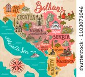 illustrated map of balkans.... | Shutterstock .eps vector #1103071046