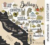 illustrated map of balkans....   Shutterstock .eps vector #1103071049