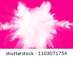 white powder explosion  on pink ... | Shutterstock . vector #1103071754