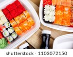 a large portion of sushi rolls. ... | Shutterstock . vector #1103072150