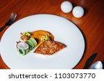 seabass and scallop steak...   Shutterstock . vector #1103073770