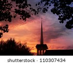 church spire against a colorful ... | Shutterstock . vector #110307434