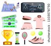 female woman tennis set. flat...   Shutterstock .eps vector #1103078750