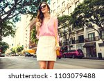 beautiful brunette young woman... | Shutterstock . vector #1103079488