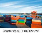 industrial container yard for... | Shutterstock . vector #1103120090