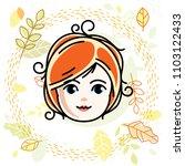 girls face  human head. vector... | Shutterstock .eps vector #1103122433