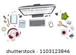 office desk workspace top view...   Shutterstock .eps vector #1103123846
