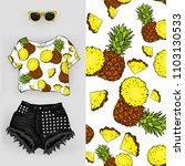 vector background of pineapple. ... | Shutterstock .eps vector #1103130533