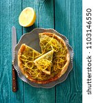 puff pastry tart pie with lemon ... | Shutterstock . vector #1103146550