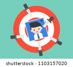 trowing knife on dartboard with ... | Shutterstock .eps vector #1103157020