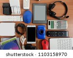 used modern electronic gadgets... | Shutterstock . vector #1103158970