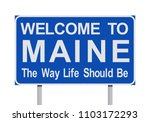 welcome to maine road sign | Shutterstock .eps vector #1103172293