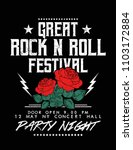 rock and roll text with rose... | Shutterstock .eps vector #1103172884